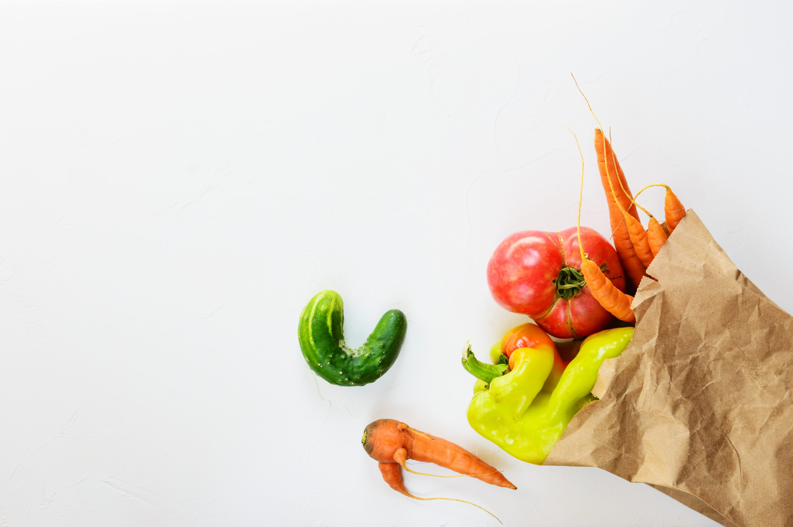 Ugly,Vegetables,In,A,Paper,Bag.,Ugly,Food,Concept,,Flat
